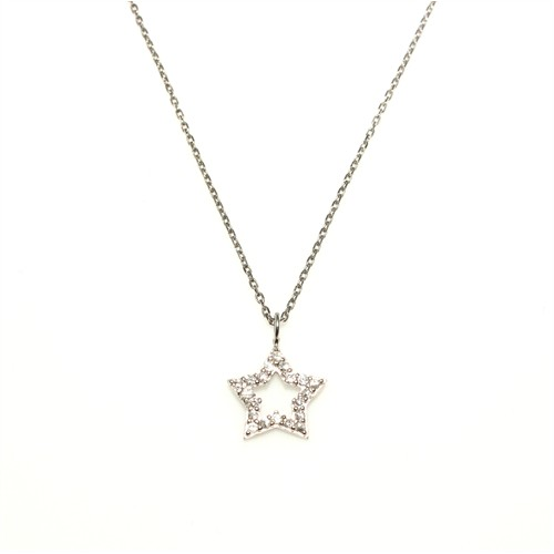 Nusret Takı 925 Ayar Gümüş Yıldız Kolye Beyaz-Beyaz Taş
