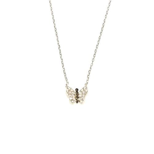 Nusret Takı 925 Ayar Gümüş Kelebek Kolye Beyaz-Beyaz Taş