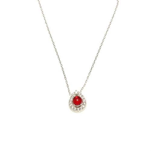 Nusret Takı 925 Ayar Gümüş Kırmızı Rubilant Taşlı Damla Modeli Kolye Beyaz - Beyaz Taş