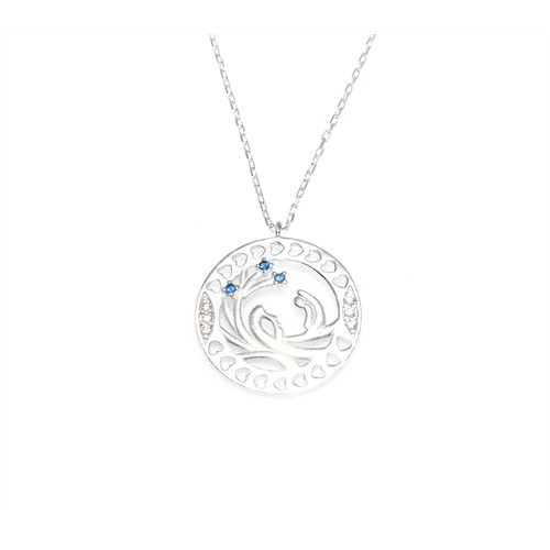 Nusret Takı 925 Ayar Gümüş Kalp İçinde Saklı Sevgi Kolye Beyaz - Beyaz Mavi Taş