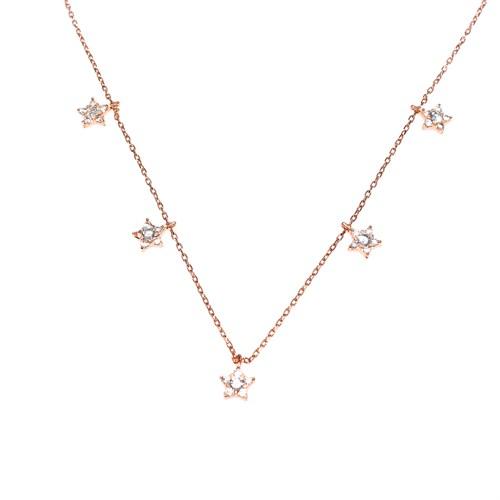 Nusret Takı 925 Ayar Gümüş Yıldız Şans Kolye Pembe - Beyaz Taş