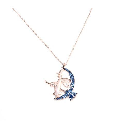 Nusret Takı 925 Ayar Gümüş Süpürgeli Cadı Kolye Pembe - Mavi Taş