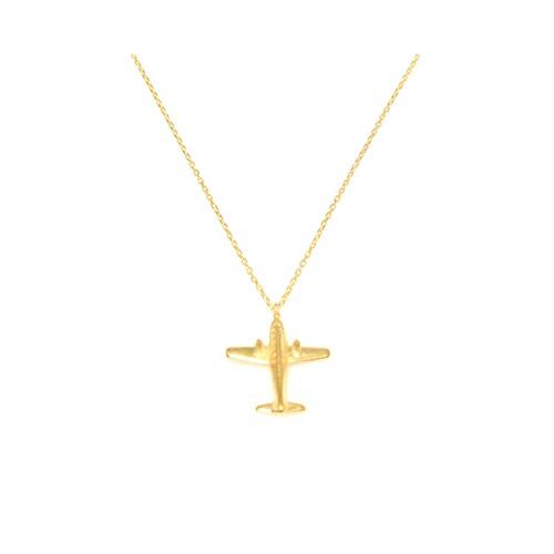 Nusret Takı 925 Ayar Gümüş Uçak Kolye Sarı