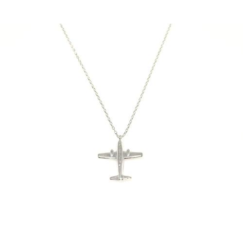 Nusret Takı 925 Ayar Gümüş Uçak Kolye Beyaz