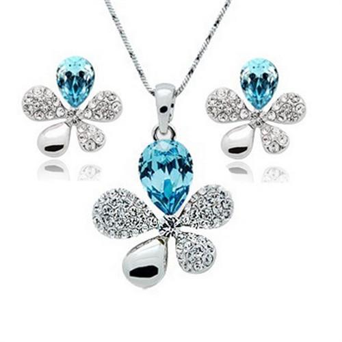 Modakedi Kristal Taşlı Mavi Çiçek Kadın Takı Seti