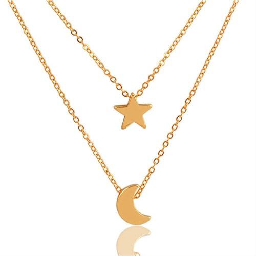 Modakedi Altın Dore Ay Yıldız Çift Katlı Kadın Kolye