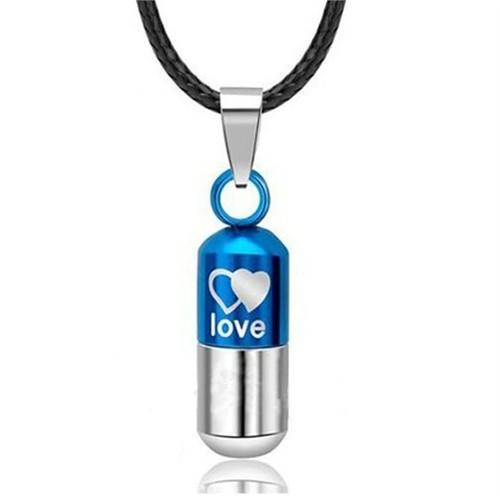 Modakedi Mavi Aşk Kapsülü Titanyum Kadın Kolye