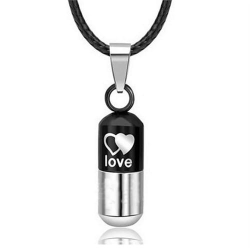 Modakedi Siyah Aşk Kapsülü Titanyum Kadın Kolye