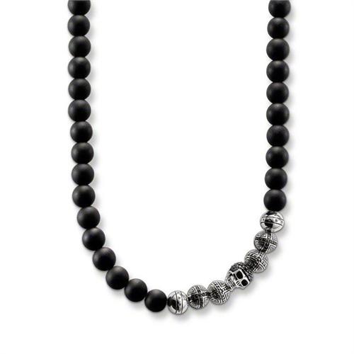 Modakedi Gümüş Kurukafa Obsidiyen Erkek Kolye