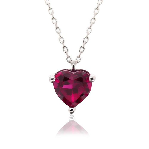 İndigo Takı Renkli Kalp Tek Taş Gümüş Kolye