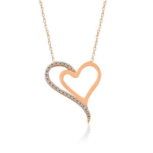 İndigo Takı İki Kalp Gümüş Kolye