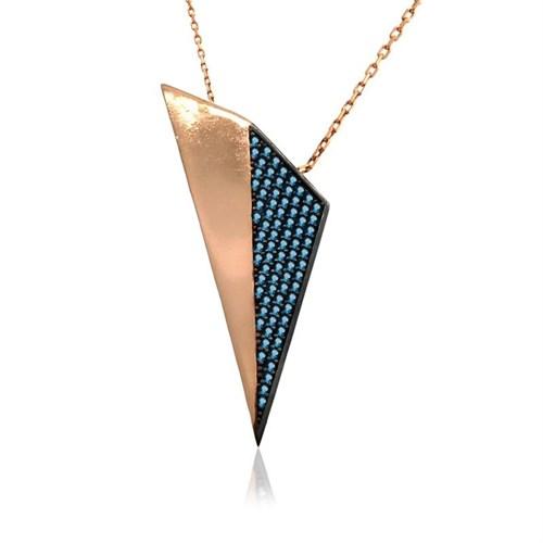 İndigo Takı Aqua Taşlı Tasarım Üçgen Gümüş Kolye