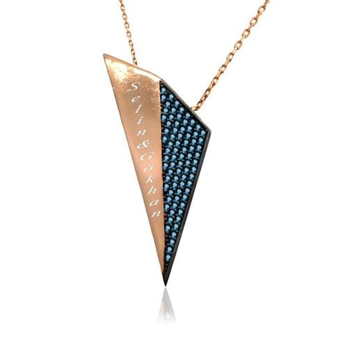 İndigo Takı Kişiye Özel Aqua Taşlı Tasarım Üçgen Gümüş Kolye