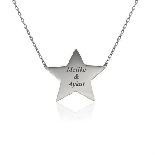 İndigo Takı Kişiye Özel İsimli Yıldız Plaka Gümüş Kolye