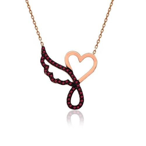 İndigo Takı Ruby Taş Kalp Tek Melek Kanadı Gümüş Kolye