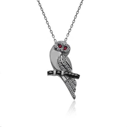 İndigo Takı Tünekte Duran Baykuş Gümüş Kolye