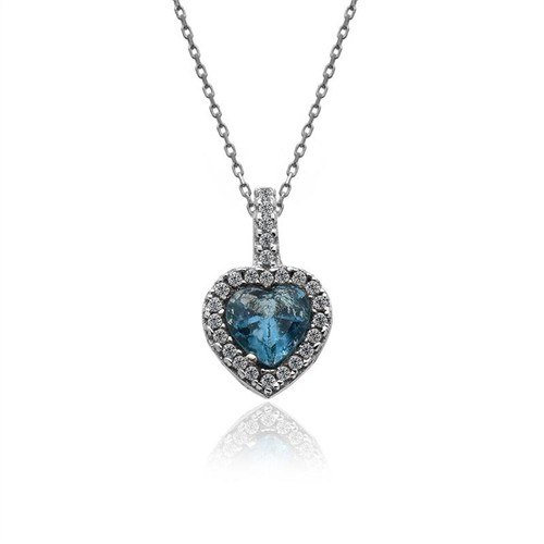 İndigo Takı Aqua Kalp Tek Taş Gümüş Kolye