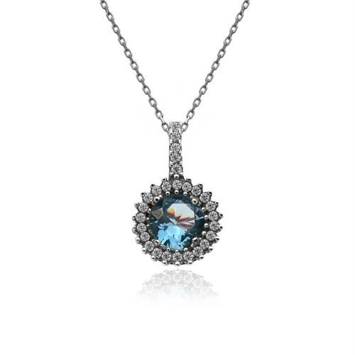 İndigo Takı Aqua Yuvarlak Tek Taş Gümüş Kolye