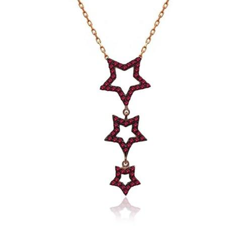 İndigo Takı Ruby Taş Sallanan Üçlü Yıldız Gümüş Kolye