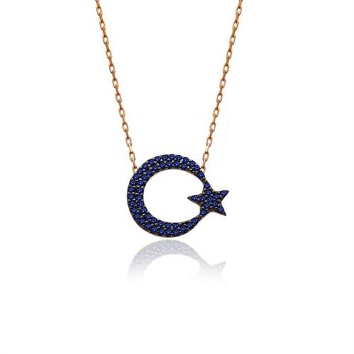 İndigo Takı Safir Taş Ay Yıldız Gümüş Kolye