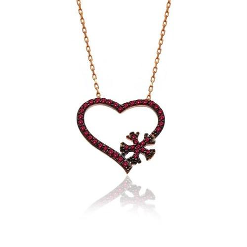 İndigo Takı Kalpli Kırmızı Kar Tanesi Gümüş Kolye