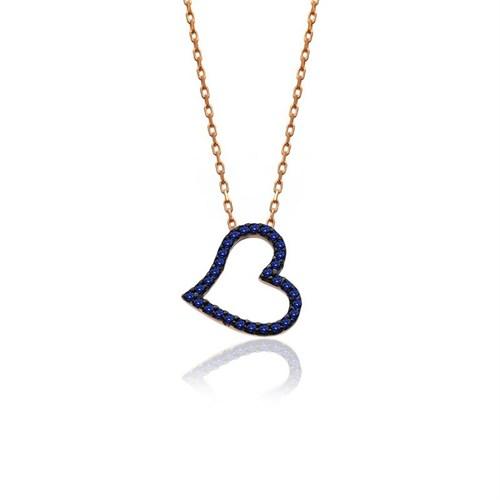 İndigo Takı Safir Taşlı Küçük Kalp Gümüş Kolye