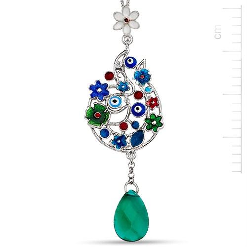 Bella Gloria Gümüş Mineli Mavi Uğurlu Demet Kolye (GMK0009)