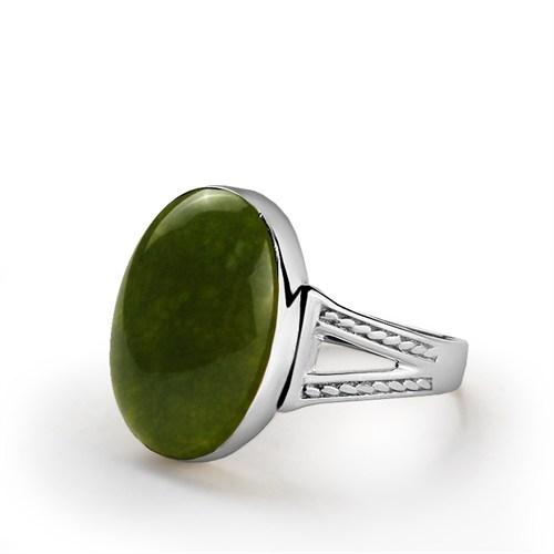 Ejoya 925 Ayar Yeşil Akik Taşlı Gümüş Erkek Yüzük