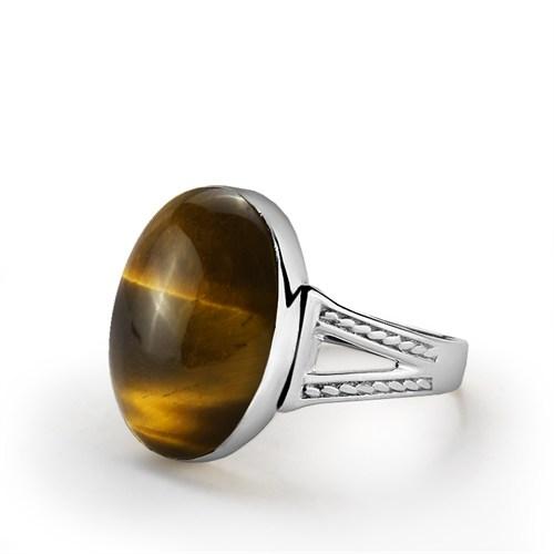 Ejoya 925 Ayar Kaplan Gözü Taşlı Gümüş Erkek Yüzük