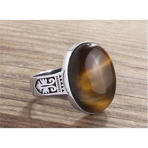 Ejoya 925 Ayar Kaplangözü Taşlı Gümüş Erkek Yüzük
