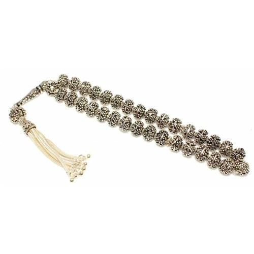 Nusret Takı 925 Ayar Gümüş Tespih Çiçek Desenli İmame