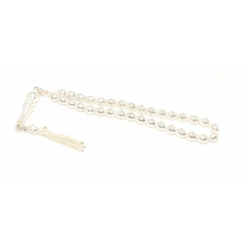 Nusret Takı 925 Ayar Gümüş Arpa Kesim Desenli Tesbih İmame Beyaz