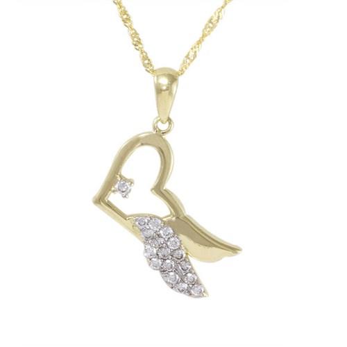 AltınSepeti Altın Melek Kanatlı Kalp Kolye AS156KL