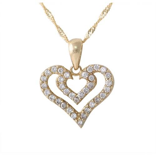 AltınSepeti Altın Taşlı Kalp Kolye AS43KL