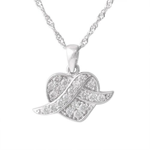AltınSepeti Beyaz Altın Kalp Kolye AS67KL