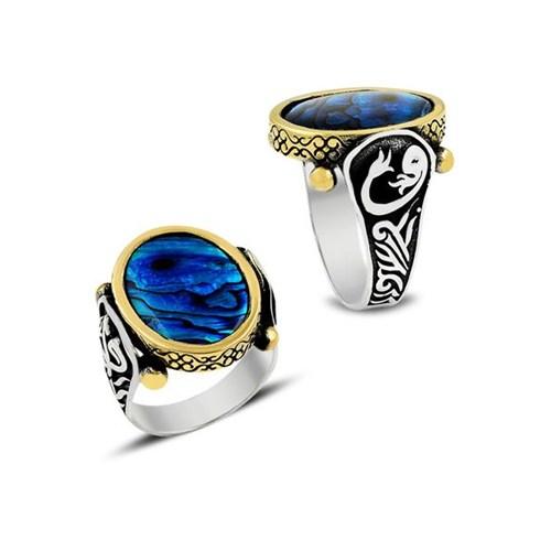 Piamen Erkek Gümüş Yüzük Mavi Sedef Taşlı