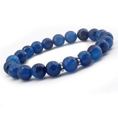 Tesbihane Gümüşlü Mavi Jade Doğaltaş Bileklik