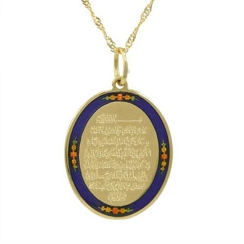 AltınSepeti Ayetel Kürsi Altın Kolye Lacivert AS370KL