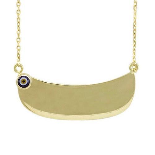 AltınSepeti Gözlü İsim Yazılan Plaka Altın Kolye AS434KL