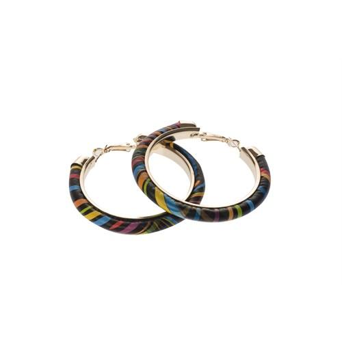 Siyah Zeminde Sarı/Mavi/Turuncu Kaeışık Renkli Halka Küpe