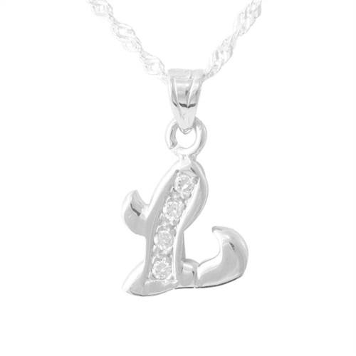AltınSepeti L Harfli Taşlı Gümüş Kolye GK8951