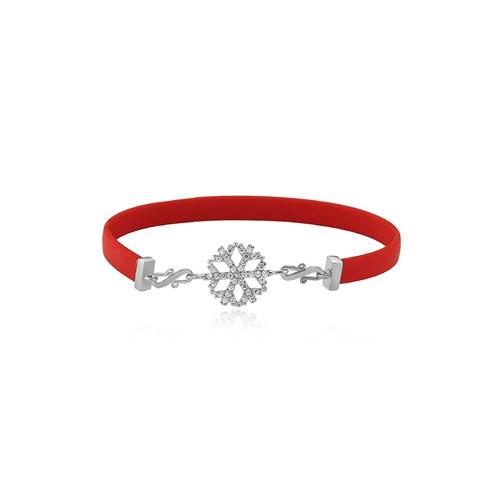 Olivin Accesories Kırmızı Kauçuk Gümüş Kartanesi Bileklik 431990