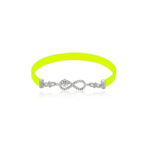 Olivin Accesories Sarı Kauçuk Gümüş Kartanesi Sonsuzluk Bileklik 431991
