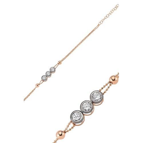 Olivin Accesories Gümüş Üç Taşlı Rose Bileklik 432000