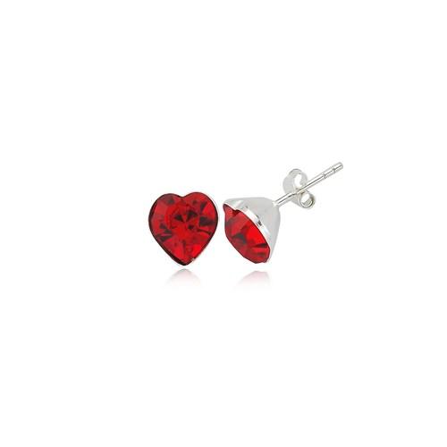 Olivin Accesories Kırmızı Kalbim Gümüş Küpe 432081