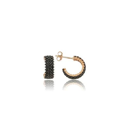 Olivin Accesories Gümüş Tamtur Siyah Taşlı Küpe 432090
