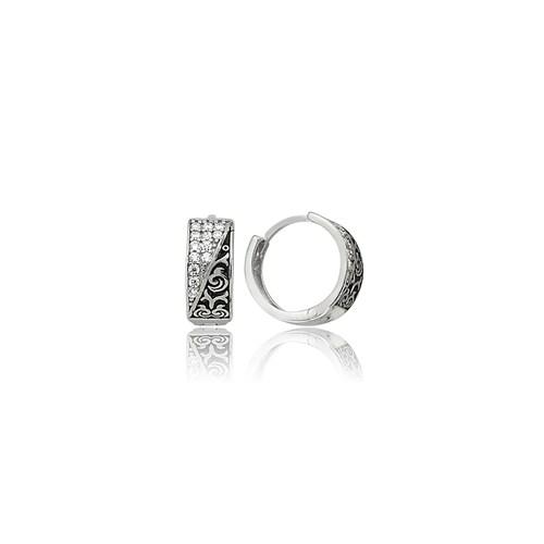 Olivin Accesories Gümüş Desenli Halka Küpe 432100