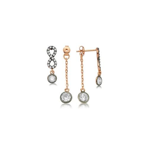 Olivin Accesories Gümüş Çift Taraflı Sonsuzluk Küpe 432146