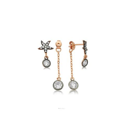 Olivin Accesories Gümüş Çift Taraflı Deniz Yıldızı Küpe 432147