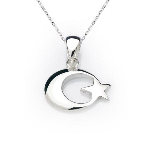 Bayan Lili 925 Ayar Gümüş Ay-Yıldız Kolye Ucu